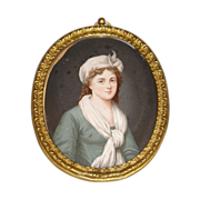 18th Century English Hand-painted Miniature Portrait in Oval Gilt Frame