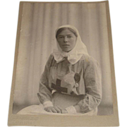Original Photograph of Grand Duchess Olga Alexendrovna in Nurse's Uniform Dated 1916