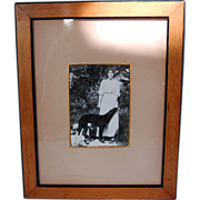 Original Pre-Revolution Photograph of Russian Grand Duchess Olga Alexandrovna with Borzoi and Company in Wooden Frame
