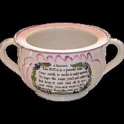 Early 19th Century English Sunderland Pink Lustre Chamber Pot