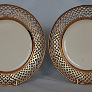 Pair of Early 19th Century Austrian Porcelain Reticulated Plates with Burnished Boarders