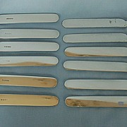 Early 20th Century Set of Twelve English Mother-of-Pearl & Silverplate Luncheon Knives