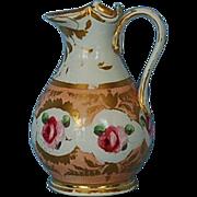 19th Century English Gold & Rose Decorated Porcelain Jug