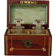 19th Century English Leather-Covered Perfume Caddy