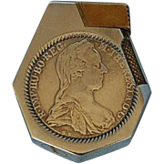 Vintage Continental Lighter with Maria Theresa Thaler Silver Coin