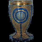 Mid-19th Century Blue & Gilt Biedermeier Bohemian Glass