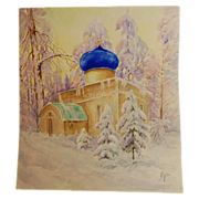 Original Signed Watercolour of Russian Church by Grand Duchess Olga Alexandrovna