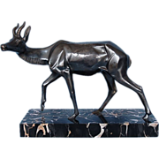 Vintage French Signed Art Deco Silvered Bronze Antelope Sculpture on Black Marble Base