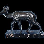 Vintage French Signed Art Deco Silvered Bronze Antelope Sculpture on Black Marble Base