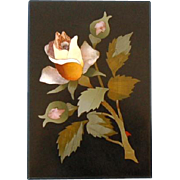 19th Century Italian Pietra Dura Plaque of Yellow Rose and Two Bud