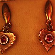 Ruby Earrings Stud Posts Hearts Original Box