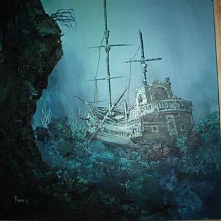 SALE Vintage Painting Shipwreck Sunken Ship Pirate Beach Ocean