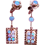 14k Opal Earrings Dangle Victorian Rose Gold