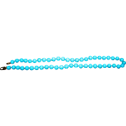 """SALE 18K Turquoise Beads Necklace Italy Sleeping Beauty 8mm 19"""""""