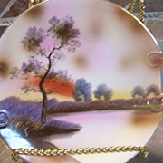 Vintage Old Noritake Plate Scene Lake Display