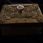 Art Deco Portrait Trinket Box Ormolu Box 1920s Flapper Girl Casket