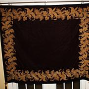 Antique Huge Tapestry Velvet Gold Metallic Decoration Burgundy Large