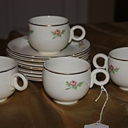 Vintage Homer Laughlin China Demitasse Cups Saucers Set Eggshell 1944