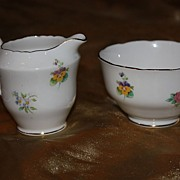 Vintage English China Royal Staffordshire Cream Sugar Bowl