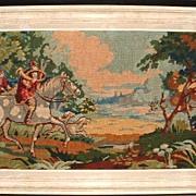 Needlework Tapestry Hunt Scene Fox Hounds Belguim Embroidery