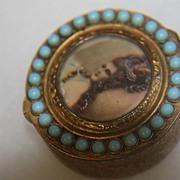 SALE Antique Snuff Pill Box Italy Madame de Pompadour Stones