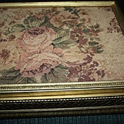 Antique Large French Tapestry Box Roses Trinket Floral Tole Needlepoint Gold