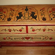 Antique Chest Unicorns Hearts Colonial Riders Birds Hand Painted