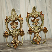 Antique Italian Sconces Carved Candle Lights Rare