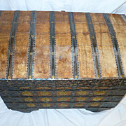 Old Dowry Chest Box Trunk Wood Wheels Ornate Metal
