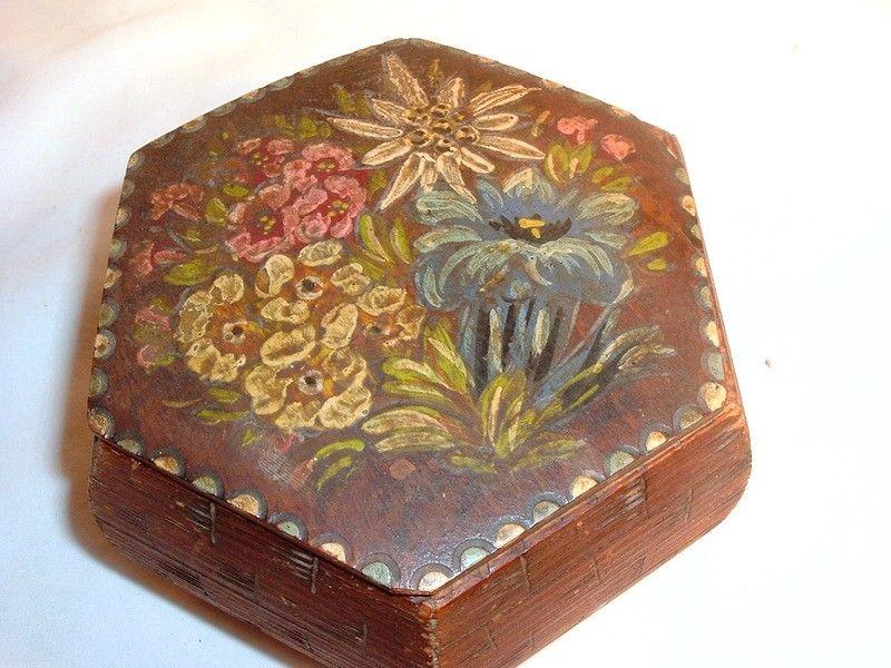 Vintage Hand Painted Box Tole Jewelry Trinket Dresser