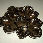 Vintage Mercury Glass Dish Leaf Pattern Design