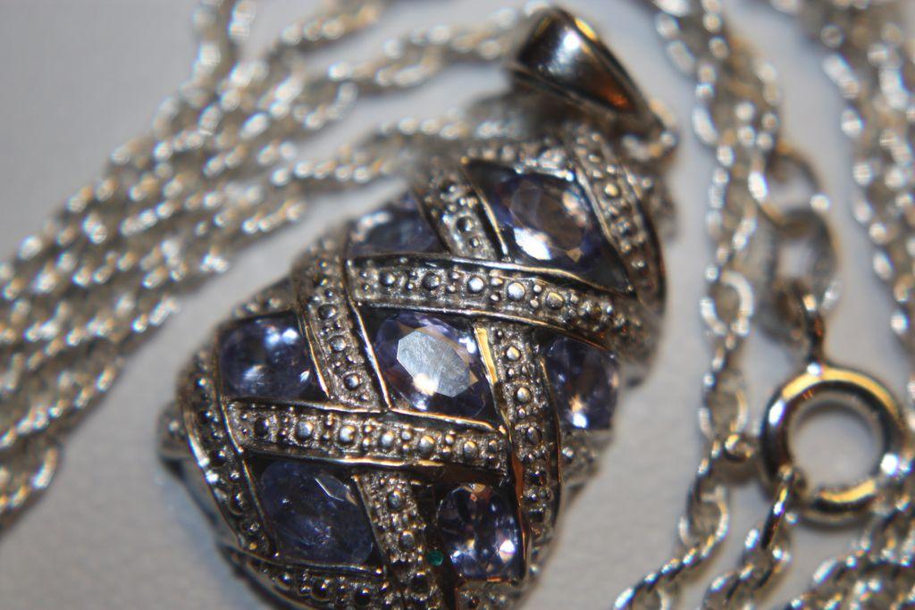 Estate Large Tanzanite Pendant Chain Necklace 925