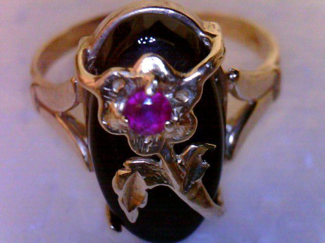 Antique 14K Nouveau Ring Black Onyx Ruby Dramatic Unique