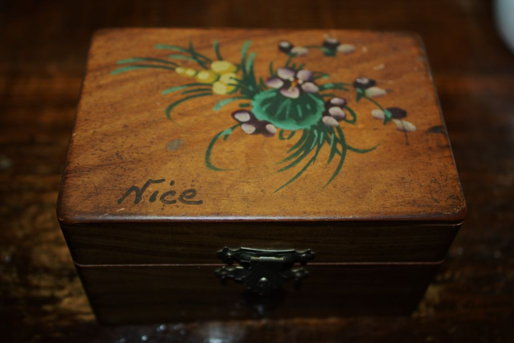 Antique French Box Wooden Hand Painted Tufted Silk