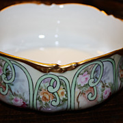 Antique Limoges JPL Bowl Pouyat Roses Gold Signed Wonderful