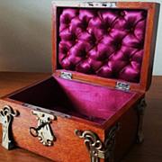 Antique French Box Trinket Jewelry Key Silk Tufted Interior Feet