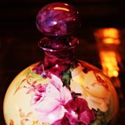 SALE Antique Limoges Perfume Bottle Roses Porcelain France HP