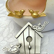 JJ Spring Birdhouse Brooch and Detachable Bird Earrings