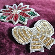 1940's Sparkly Beaded Poinsettia and Christmas Bow Brooches