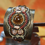 Intricate Indian Glass Beaded and Lacquered Brass Cuff