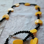 Funky 1980's Yellow and Black Plastic Hearts Necklace