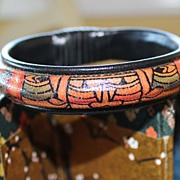 Classic Ink-Drawn Graphic Leather 1980's Ethnic Bangle