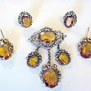 Victorian Revival Topaz Glass Pin Earrings and Fur Clip Set