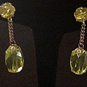 Vintage Citrine Color Dangle Earrings