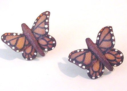 Leather Butterfly Earrings