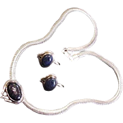 Sterling Silver and Midnight Stone Necklace and Earrings