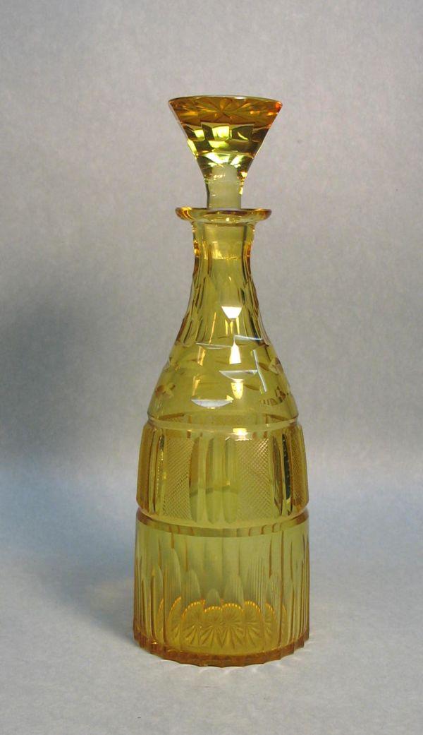 Yellow Cut Glass Decanter ca. 1910
