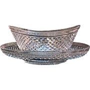 Anglo/Irish Cut Glass Center Bowl and Tray ca. 1810-20