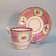Pink Luster Cup and Saucer circa 1835
