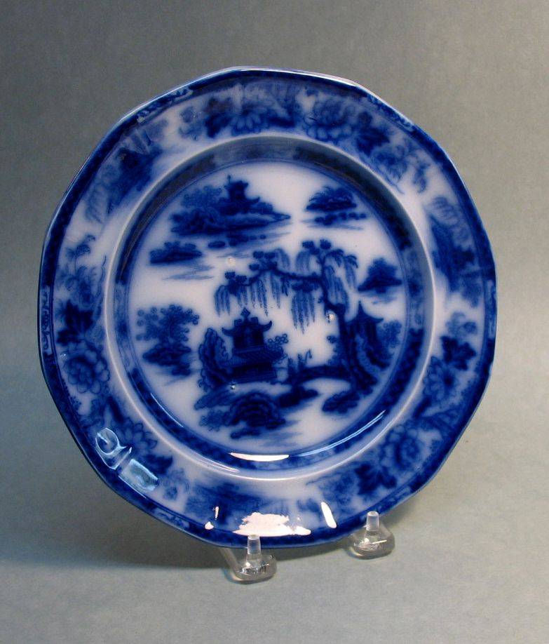 "Manilla Flow Blue Ironstone 8.5""  Plate ca. 1850"